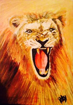 Lion 2 acrylic paint by Patsy Cain 2013