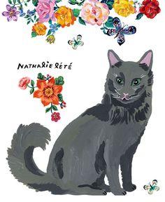 cat painting by artist nathalie lete / sfgirlbybay