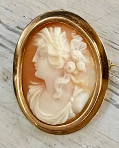 Antique Left-Facing Cameo Brooch Pendant 10k Gold - Yourgreatfinds, Vintage Jewelry - 1