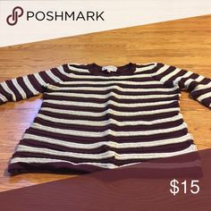 Sweater Burgundy and tan striped sweater Sweaters