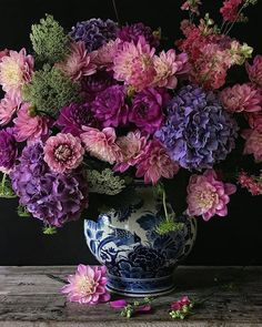 New flowers bouquet floral arrangements purple Ideas Peonies And Hydrangeas, Hydrangea Bouquet, Dahlias, Chrysanthemums, Delphiniums, Peonies Bouquet, Flower Bouquets, Amazing Flowers, Fresh Flowers