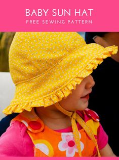 Baby bonnet pattern - free sewing pattern. Make this baby sun hat with cute  ruffle 898d789048c1