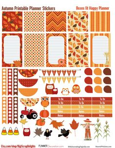 50% OFF TODAY Autumn Days Printable Planner Stickers #1 for Happy Planner : Owls, Pumpkins, Weekend Banners, Titles, Icons and more