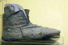 Credit: Boot (leather), Viking / Jorvik Viking Centre, York, UK / Ancient Art and Architecture Collection Ltd. / The Bridgeman Art Library Viking Shoes, Viking Garb, Viking Dress, Viking Footwear, Medieval Dress, Norse Clothing, Medieval Clothing, Historical Clothing, Historical Photos