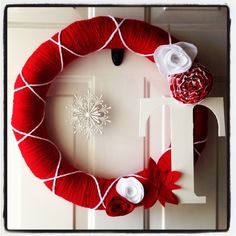 """Monogram red and white holiday christmas wreath with snowflake and flowers - 18"""""""