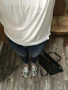 Me. Monday.  Casual. White Gap cotton tank and white Cotten Gap top with scooped V and 3/4 in sleeves. AG jeans. Kate Spade Keds with Kate Spade black Small Harmony purse.