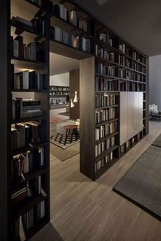 Bookcase as room divider - bookcase ideas, bookcase design, bookcase clipart Home Library Rooms, Home Library Design, Home Room Design, Dream Home Design, Home Office Design, Modern House Design, House Rooms, Home Interior Design, Small Home Libraries