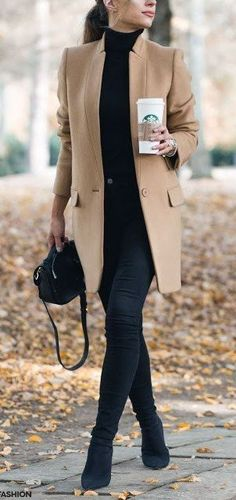 Camel and black, such a classy color combo