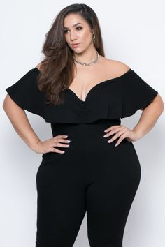 This plus size, stretch knit jumpsuit features an off the shoulder neckline, a frill ruffle detailing with an added underwire for an added support, a sleeveless Plus Size Fashion For Women, Black Women Fashion, Curvy Fashion, Plus Size Women, Womens Fashion, Curvy Women Outfits, Plus Size Outfits, Clothes For Women, Black Jumpsuit