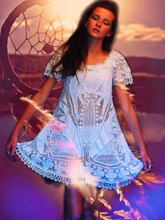 DREAM weaver SHEER Lace Gown fine flowing crochet Boho Gypsy princess Prairie mini dress COTTON Hippie Bride wedding Stevie Nicks Gypsy xs s on Etsy, $218.00