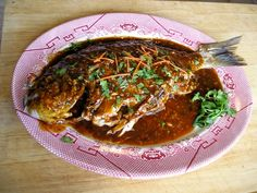 Whole Fish with Chili Sauce  ( Doubanjiang quan yu )   One tradition of Chinese cuisine which differs markedly from that of the West...