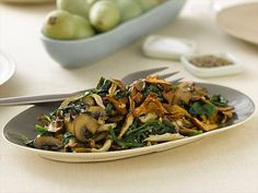 Sauteed Wild Mushrooms with Spinach Recipe by Robin Miller, foodnetwork #Mushrooms #Spinach