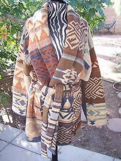 Awesome!! Hand Knit Southwestern Patchwork Indian Blanket Sweater ~Ralph Lauren $340