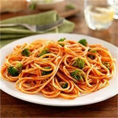 Spaghetti with Broccoli Florets and Traditional Sauce - Allrecipes.com | Pasta | Pinterest | Spaghetti, Traditional and Sauces