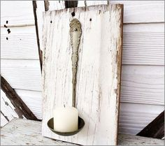 Old spoon and wood board candle holder! Awesome antique look.