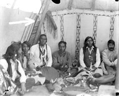 Blackfoot men playing a gambling game - circa 1907 (Part 1 - left side)