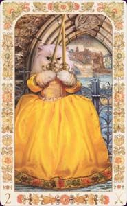 Baroque Bohemian Cats. My favourite this the four of pentacles (this one here is the two of swords).