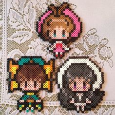 Cardcaptor Sakura Pokemon Perler Beads, Diy Perler Beads, Pearler Beads, Pixel Beads, Fuse Beads, Pearler Bead Patterns, Perler Patterns, Cardcaptor Sakura, Beaded Cross Stitch