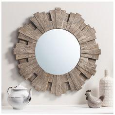 "Cavalos Round Rustic timber starburst mirror 26.5"" diameter - Round Mirrors - Mirrors"