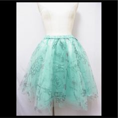 SUPER LOVERS Playing Card Motif Knee-Length Tulle Skirt