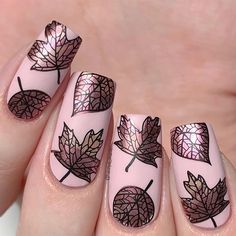 """*PR* Fall lesves nails using the new """"Lovely Leaves stamping plate! 🍂♥️✨  I used:  🍂 """"Cake Pop"""" ♥️… Liquid Nail Tape, Liquid Nails, Fall Nail Art, Autumn Nails, Fall Nail Designs, Nail Polish Designs, Nail Art Stencils, Different Types Of Nails, Fall Patterns"""