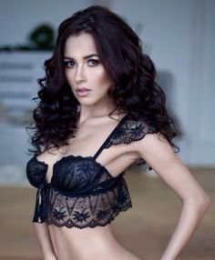 Black Bra with Lace Bodice Skirt and Lace Shoulder Epaulets