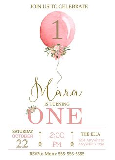first birthday girl ~Baby Girl Balloon invitation~ ~Watercolor First birthday Editable Invitation Template~ You will edit this entire item yourself on the Templett website on your c 1st Birthday Party Invitations, Birthday Invitation Templates, Invitation Card Design, Invitation Cards, Birthday Banners, Free Online Birthday Invitations, Farewell Invitation, Invitation Ideas, Invites
