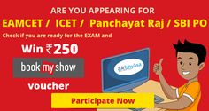 Participate in @eabhyasa contest for competitive exams like #eamcet #icet #panchayatraj #sbipo & Win Rs 250 #BookMyShow voucher!  Register now: goo.gl/7YcHx0