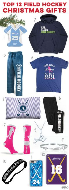 Check out these great holiday field hockey gift ideas! Click to see more details on our top 12 field hockey player gift ideas. Unique field hockey Christmas gifts you can't find anywhere else!