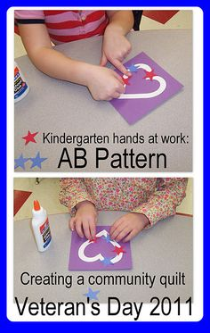 Kindergarten Veteran's Day quilt construction