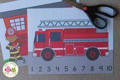 Use these free fire truck printables to teach number recognition and number order. Both fire truck number puzzles will be great addition to your preschool fire safety or community helper units. Perfect independent activity for you math centers or math work stations in preschool or pre-k. community helper theme, fire safety theme, fire safety activities