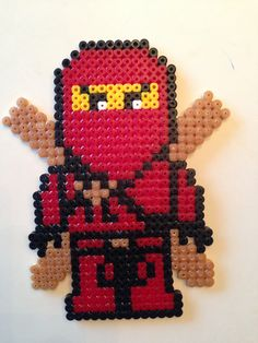 Hama - Ninjago Kai Melty Bead Patterns, Hama Beads Patterns, Beading Patterns, Perler Beads, Fuse Beads, Bead Crafts, Diy And Crafts, Hama Disney, Lego Craft
