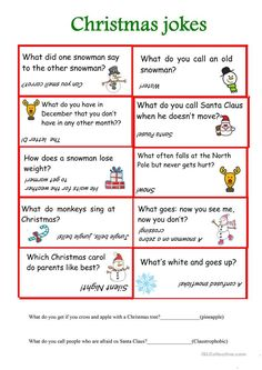 Christmas jokes worksheet - Free ESL printable worksheets made by teachers Xmas Games, Holiday Games, Christmas Party Games, Christmas Activities, Christmas Traditions, Holiday Fun, Christmas Jokes For Kids, Christmas Worksheets, Christmas Printables