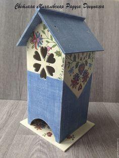 Купить чайный домик для чая Джинс деревянный декупаж - синий джинс, фольклерные узоры