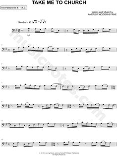 "Hozier ""Take Me to Church - Bass Clef Instrument"" Sheet Music (Cello, Trombone, Bassoon, Baritone Horn or Double Bass) - Download & Print"