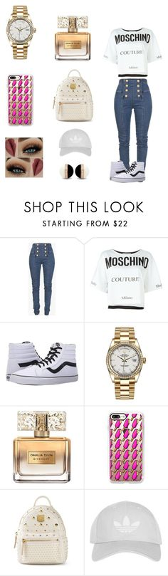 """👩🏽‍💻"" by dajahknox ❤ liked on Polyvore featuring Balmain, Moschino, Vans, Rolex, Givenchy, Casetify, MCM and Topshop"