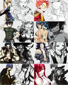 Natsu, Gray, and Jellal.<<<< why did you only name the males? There is Natsu and Lucy (NaLu) Gray and Juvia (Gruvia) and Gajeel and Levy (GaLe, GaLevy)  Jellal and Erza (Jerza) from Fairy Tail. The they are all beautiful ship's that need to be cannon now. (well GaLe might be a ship before all the others)