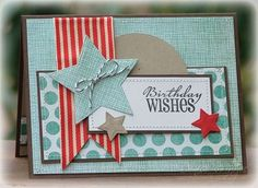 would make a good male birthday card- love all the stitching!