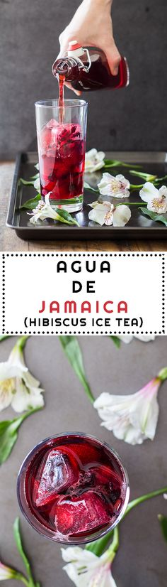 Agua de Jamaica is a typically Mexican nonalcoholic beverage served in a restaurant - It is simply sweet hibiscus ice tea and tastes absolutely delicious - Please click if you would like to find out more #sippin...x
