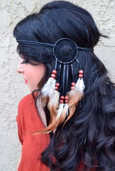 """Unique Dreamcatcher Feather Headband, With Natural Feathers And Wooden Beads. Headband Is Made From Scratch By Us And Can Not Be Found Any Where Else. Ring Is 3"""" In Diameter (Outer Circle) And Is Atta"""