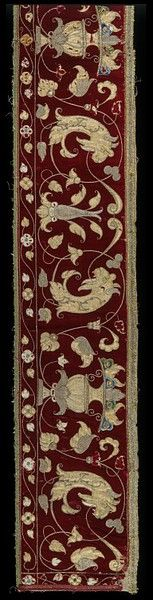 Italian Valance ~ 16th century ~ Silk velvet with padded appliqué of silver tissue embroidered in colored silks and couched metal thread ~ V & A Museum ~ Richly embroidered bed hangings were often the most expensive part of the furnishing of a camera. In Venice beds were commonly fitted inside alcoves, with curtains to conceal the wooden structure and hide the bed during the day. This striking bed valance would have hung high on the bed frame under the canopy.