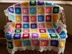 Colourful Crochet Granny Square Baby Blanket by OlgaSoleil on Etsy