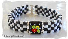 Checkered Poppy Flower Beaded Bracelet by CherryChickJewelry on Etsy