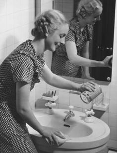 size: Photographic Print: Young Woman Cleaning Bathroom Sink Poster by George Marks : Artists Daily Cleaning Checklist, Cleaning Tips, Cleaning Solutions, Vintage Housewife, 1950s Housewife, Cast Iron Sink, Fresh Makeup, Bathroom Cleaning, 50s Bathroom