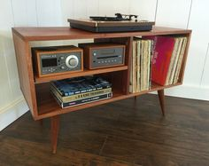 New mid century modern record player console, turntable, stereo cabinet with LP album torage. Sapele mahogany with natural finish.