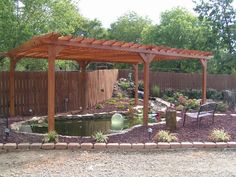 Just recently completed pergola over koi pond for looks and shade. Backyard Water Feature, Ponds Backyard, Backyard Landscaping, Koi Ponds, Backyard Ideas, Garden Ideas, Raised Garden Beds, Garden Pond, Raised Bed