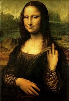 Mona Lisa flipping the bird.