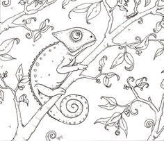 Hedgie's Desk: Chameleon Coloring Page