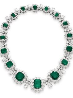 Elizabeth Taylor's jewels: this emerald and diamond necklace by Bvlgari sold for 6.13 million. It was estimated at a lowly 1 million.This too was a gift from Richard Burton.