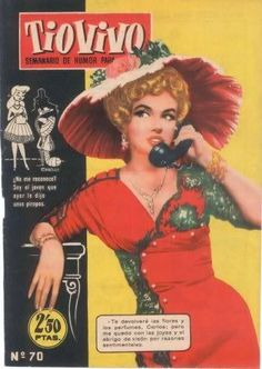 """Tiovivo - 1958, magazine from Spain. Front cover photo of Marilyn Monroe from the set of """"The Prince and The Showgirl"""", 1956."""